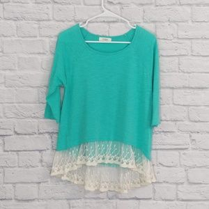Umgee | Teal with Cream Lace Tunic